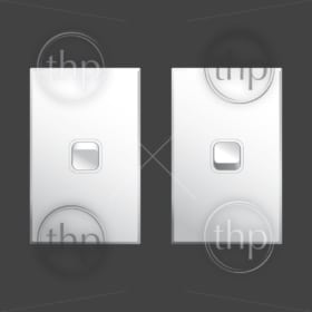 Light switch vector in both on and off positions in white