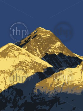 Mount Everest vector, world's highest mountain, in the Himalaya, Nepal