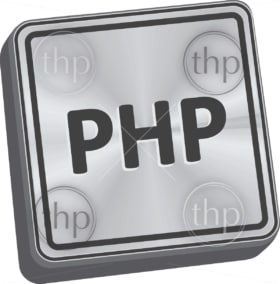 PHP button 3D key in brushed metal vector
