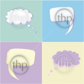 Thought balloons or bubbles in sketched vector style on pastel background