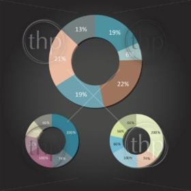 Modern flat design vector pie charts in various colors