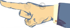 Sketched hand and finger pointing with suit jacket and shirt sleeve in vector
