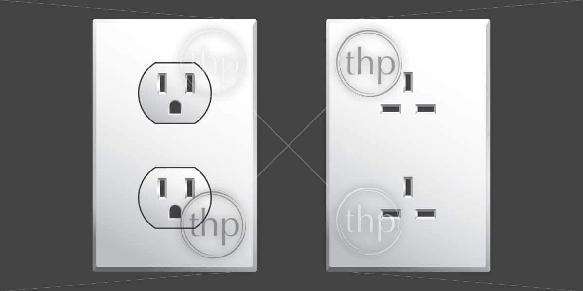 Power outlet in two different styles used in the USA in vector format