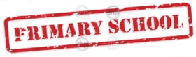 Primary school red rubber stamp in vector format