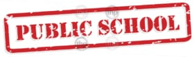 Public school red rubber stamp in vector format