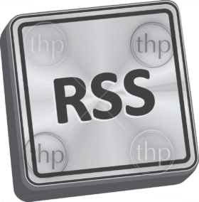 RSS button 3D key in brushed metal