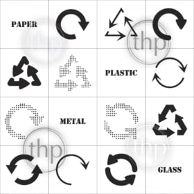 Simple, flat design recycle symbols in black isolated on white background