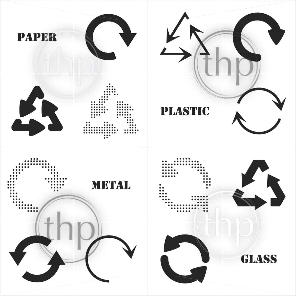 Simple Flat Design Recycle Symbols In Black Isolated On White Photo