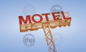 Classic travel neon motel sign against blue sky in vector