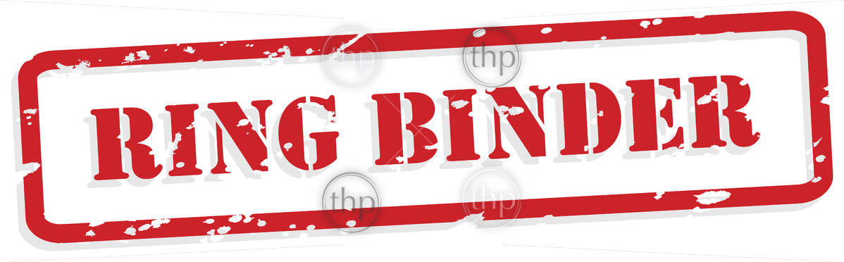 Ring binder red rubber stamp in vector format