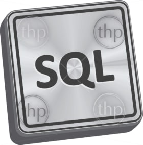 SQL button 3D key in brushed metal vector