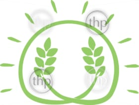 Simple harvest icon vector in the shape of the sun with wheat growing inside