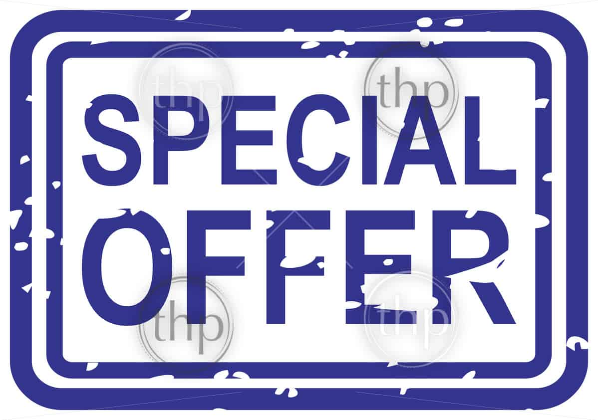 Blue rubber stamp vector for special offer business concept
