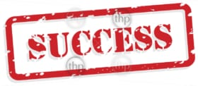 Success red rubber stamp in vector format