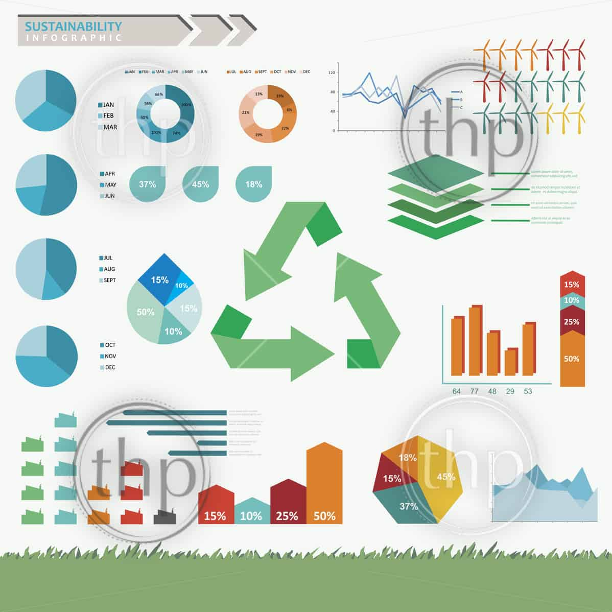 Sustainability and eco friendly infographic set in vector