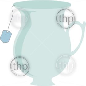Teacup in simple vector with teabag hanging out