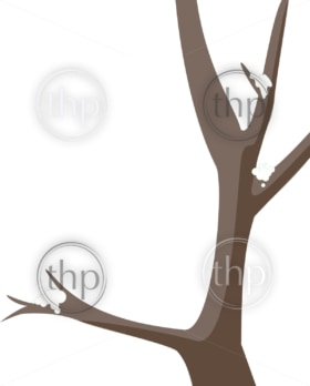 Simple tree vector graphic with snow on the branches