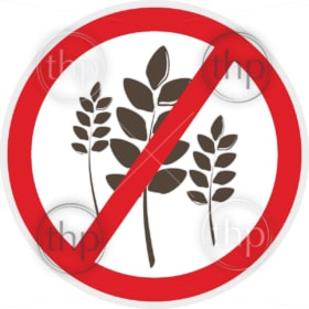 Wheat free icon in flat style for food allergy concept