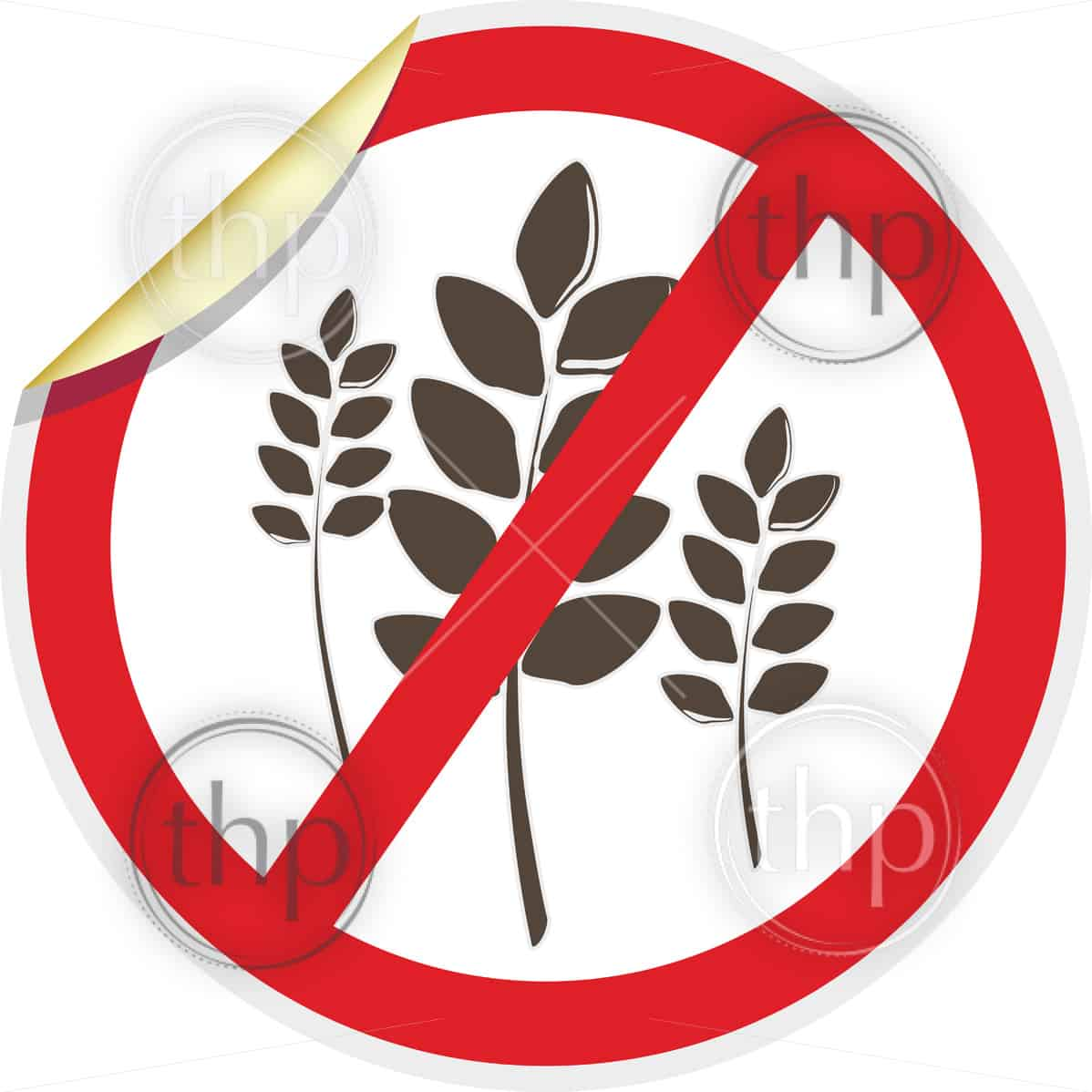 Wheat free icon in 3D style for food allergy concept