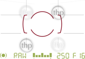 Generic camera viewfinder view looking through lens with camera settings and focus area vector