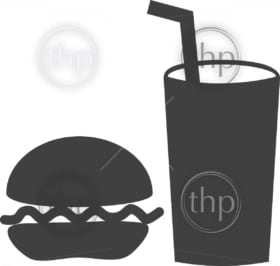 Simple food and drink vector with hamburger and a soda