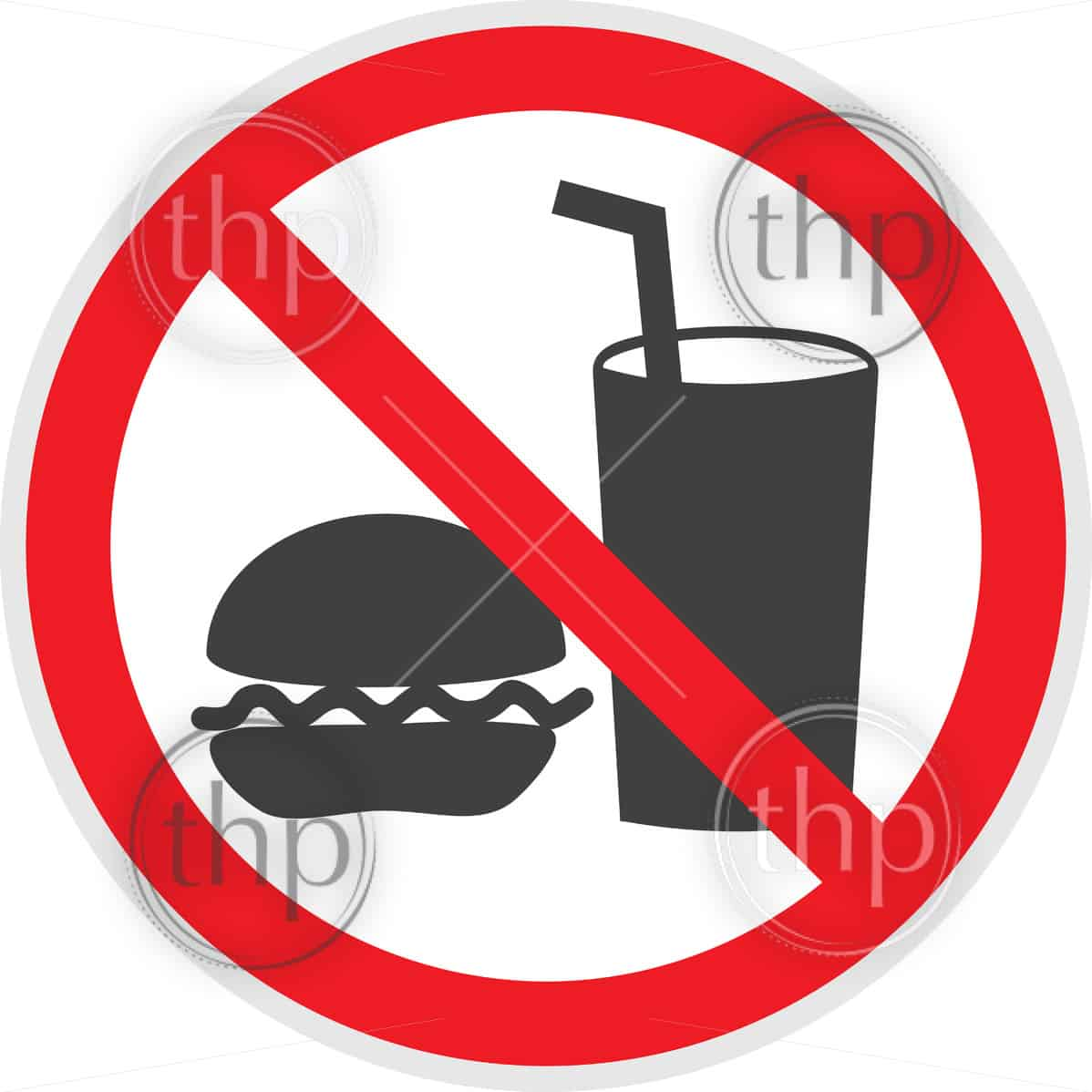 No food or drink sign in vector depicting banned activities