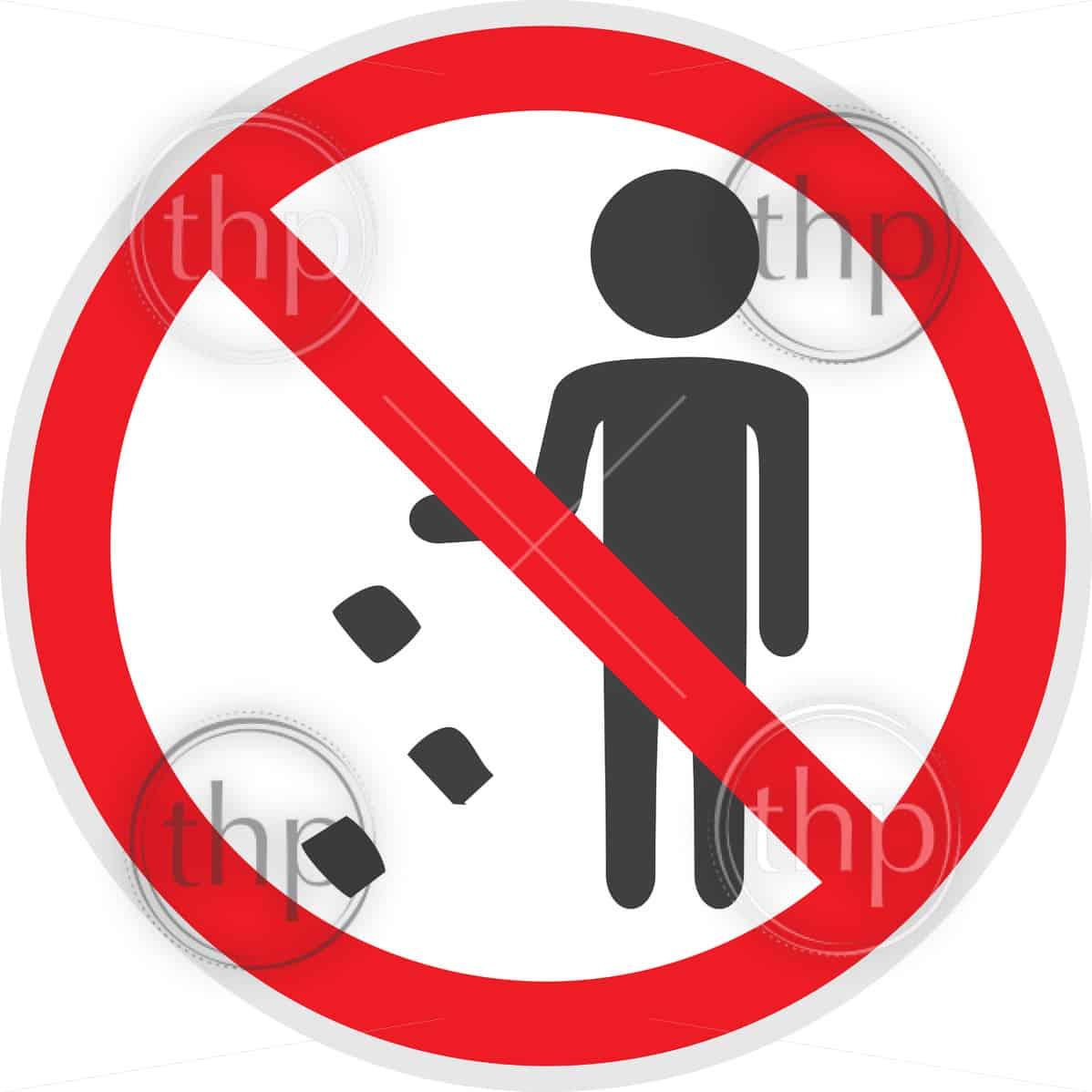 No littering sign in vector depicting banned activities