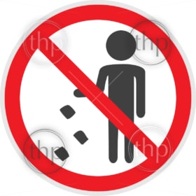 No littering sign in vector depicting banned activities