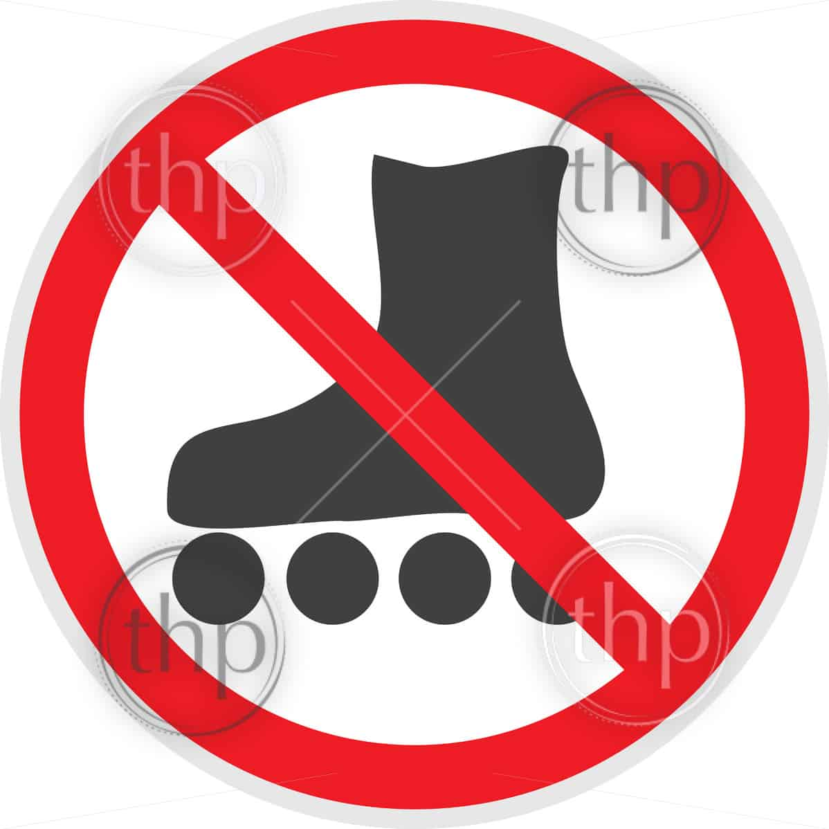 No rollerblades sign in vector depicting banned activities