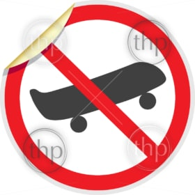 No skateboards sign in vector depicting banned activities