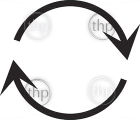 Simple flat design recycle symbol vector in black
