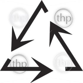 Simple flat design recycle symbol vector in black