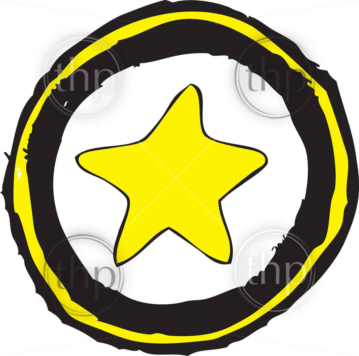 Star drawn in a rough hand drawn sketch style vector