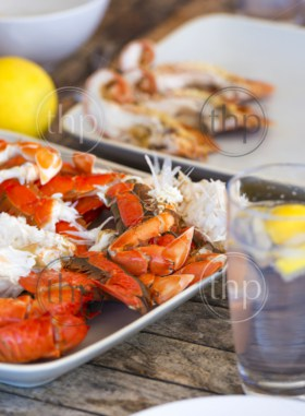 Australian seafood platter lunch of crab and Moreton Bay bugs