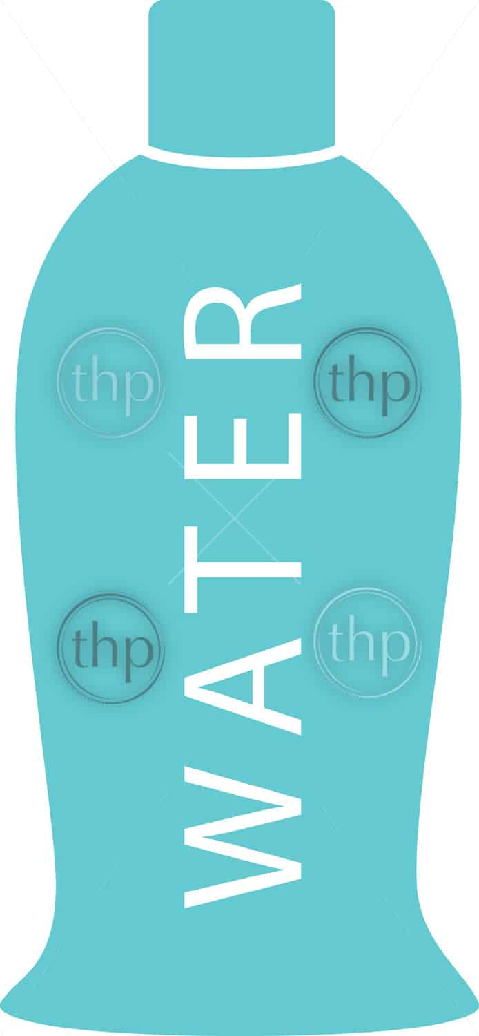 Water bottle in simple flat vector style