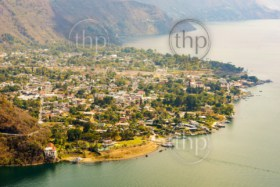 Aerial view of Panajachel on Lake Atitlan, Guatemala, Central America