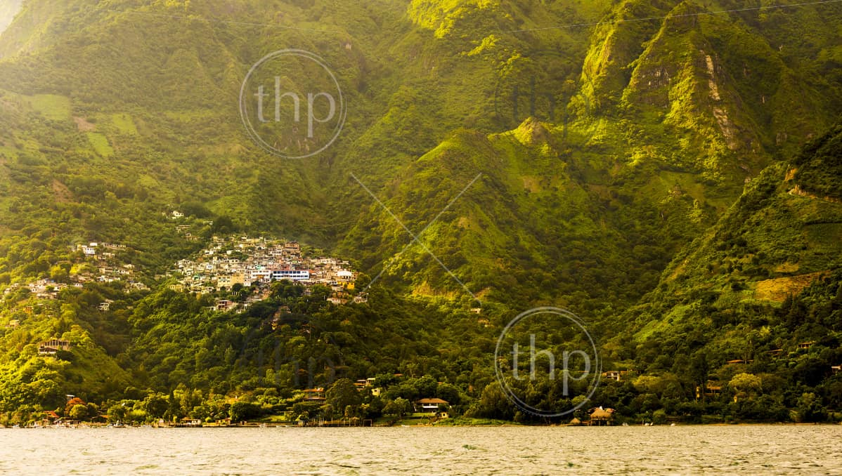 Sunset over village on Lake Atitlan, Guatemala, Central America