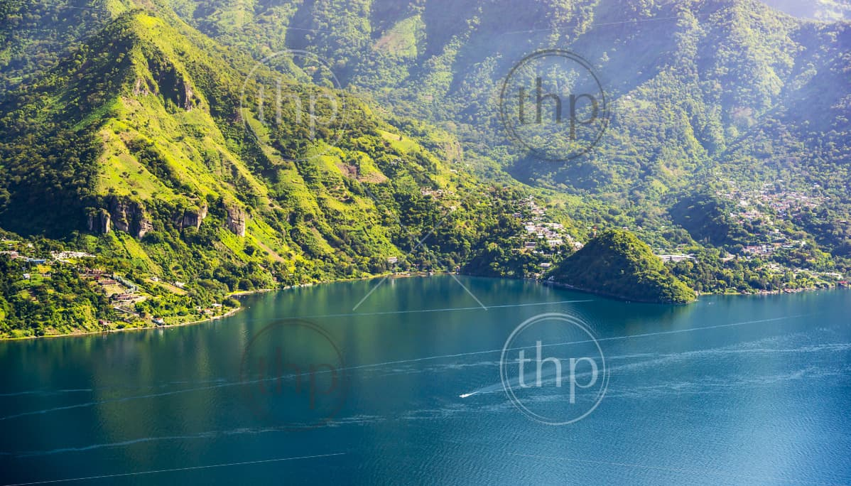 Lake Atitlan mountainous shoreline with a view of San Marcos La Laguna