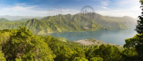 Panorama of Lake Atitlan with it's volcanic highlands