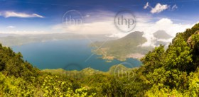 Panoraramic view of Lake Atitlan from the summit of volcano San Pedro, Guatemala, Central America