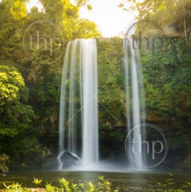 Misol Ha waterfall in early morning sunlight near Palenque in Chiapas, Mexico