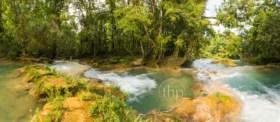Panorama of Agua Azul waterfall near Palenque in Chiapas, Mexico