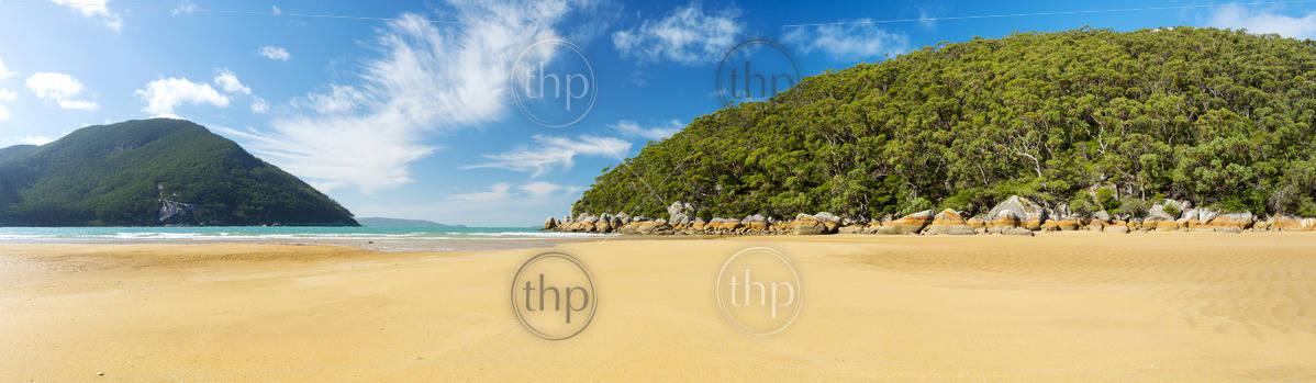 Sealers Cove beach panorama in Wilsons Promontory National Park, Victoria, Australia
