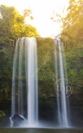 Sunrise on Misol Ha waterfall near Palenque in Chiapas, Mexico