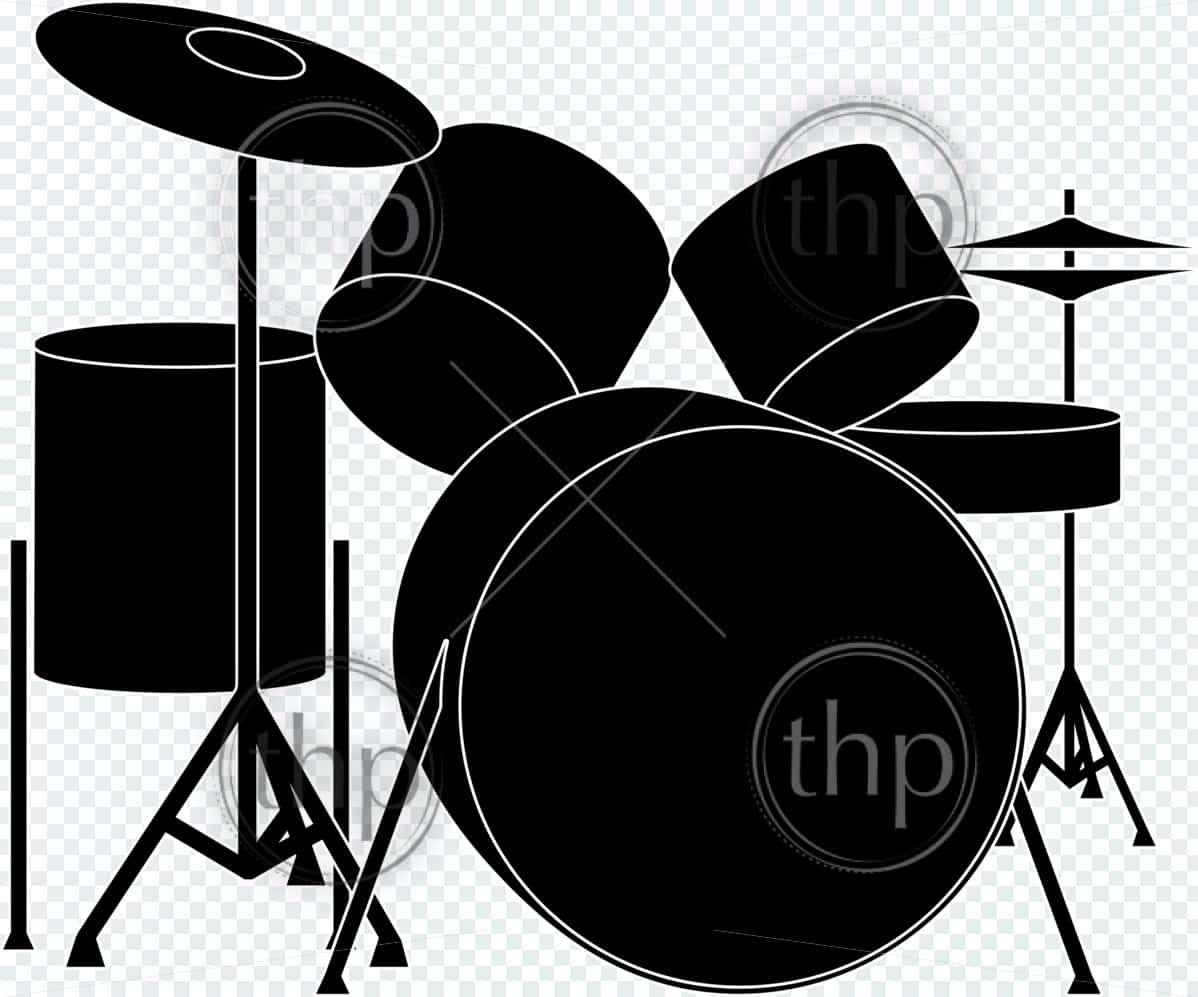 Detailed drumkit vector illustration in black and white