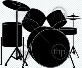 Detailed drumkit vector illustration in black and white