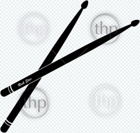 Drumsticks vector for rock band concept in black and white