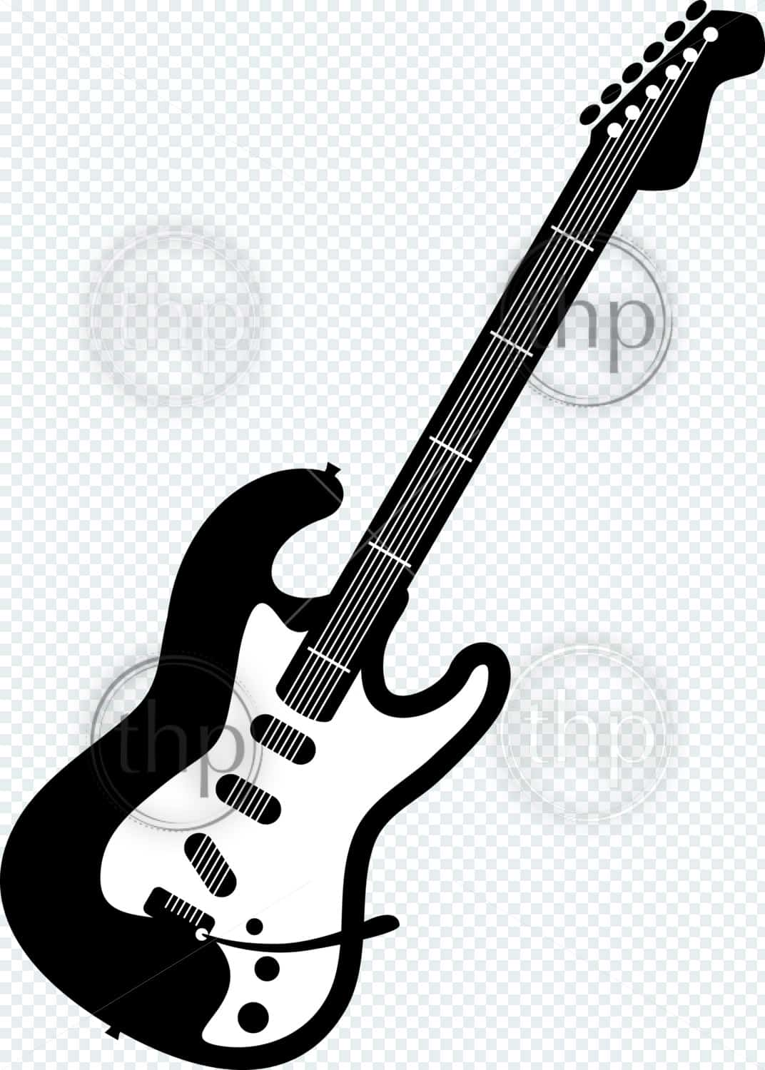 Electric guitar vector illustration in black and white