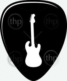 Guitar pick vector illustration in black and white
