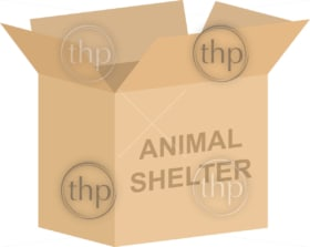 Cardboard box vector for animal shelter charity concept